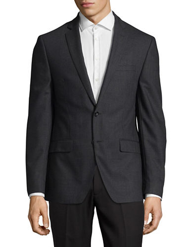 Calvin Klein X-Fit Slim Houndstooth Wool Sport Jacket-GREY-48 Tall