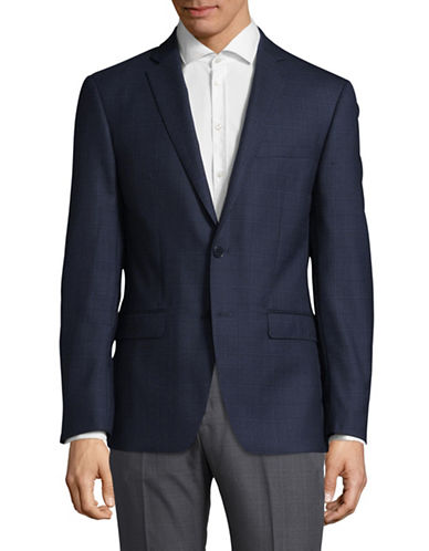 Calvin Klein X-Fit Slim Windowpane Wool Sport Jacket-BLUE-38 Short