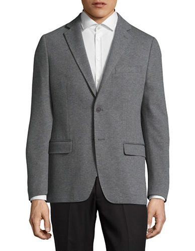 Calvin Klein X-Fit Slim Houndstooth Wool Sport Jacket-GREY-38 Short