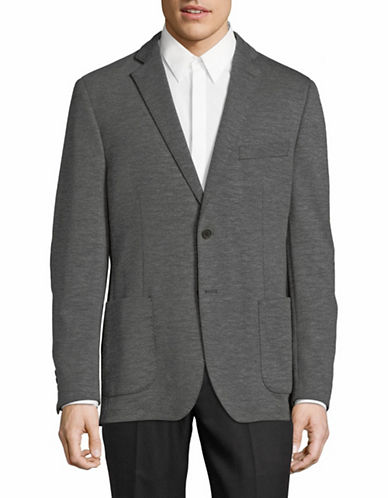 Black Brown 1826 Casual Knit Sportcoat-GREY-42 Short
