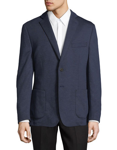 Black Brown 1826 Casual Knit Sportcoat-BLUE-42 Short