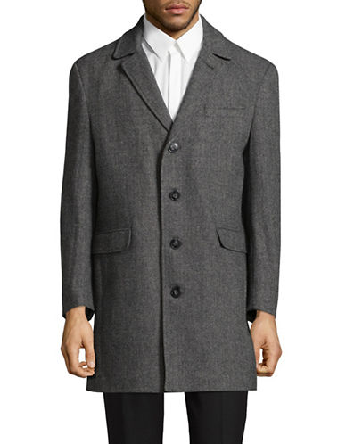 Calvin Klein Herringbone Wool-Blend Jacket-BLACK-44 Regular