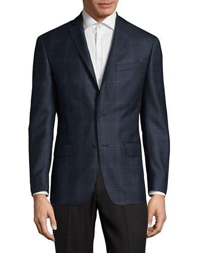 Michael Kors Checked Wool Sports Jacket-BLUE-44 Regular