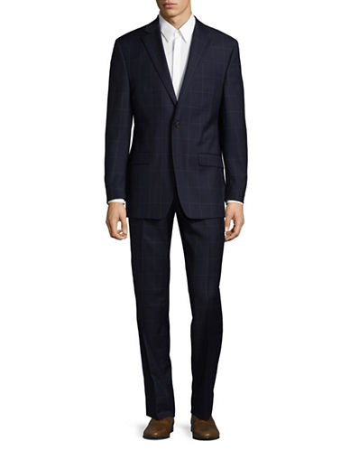 Lauren Ralph Lauren Graph Check Wool Suit-BLUE-40 Short