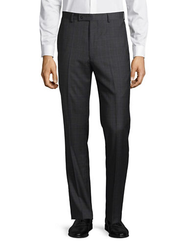 Calvin Klein X-Fit Slim Plaid Wool Pant-GREY-35X32