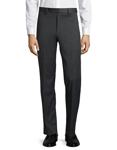 Lauren Ralph Lauren Wool Straight-Leg Dress Pants-GREY-34X30