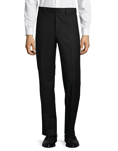 Lauren Ralph Lauren Wool Straight-Leg Dress Pants-BLACK-34X34