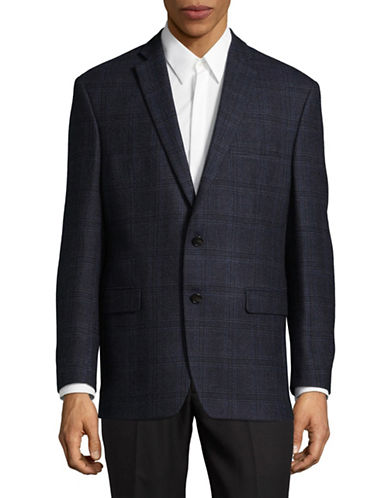 Lauren Ralph Lauren Plaid Wool Jacket-BLUE-46 Tall