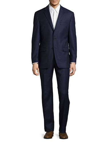 Lauren Ralph Lauren Ultraflex Tonal Plaid Wool Suit-NAVY-48 Tall