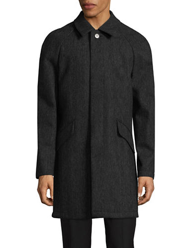 Dkny Herringbone Wool-Blend Coat-BLACK-42 Regular