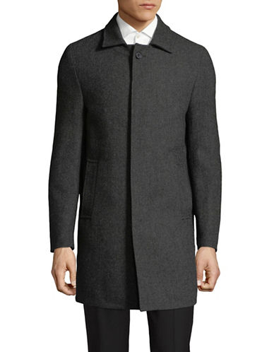 Dkny Herringbone Wool-Blend Coat-GREY-42 Regular