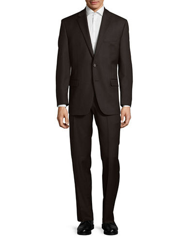 Lauren Ralph Lauren Ultra Flex Pinstripe Wool Suit-BROWN-42 Short