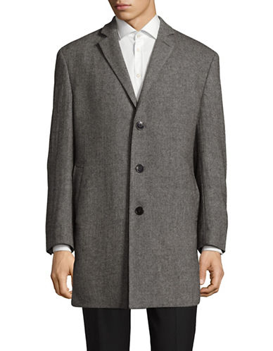 Calvin Klein Notch Heathered Topcoat-BLACK-46 Regular