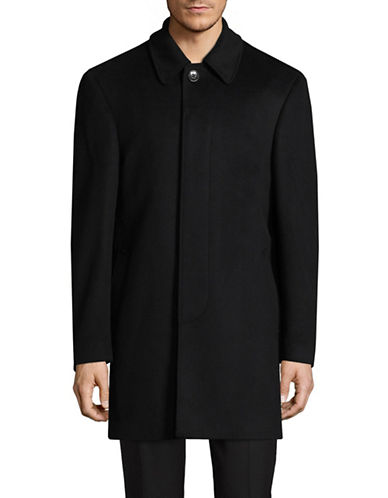 Lauren Ralph Lauren Wool-Blend Shirt Lapel Car Coat-BLACK-48