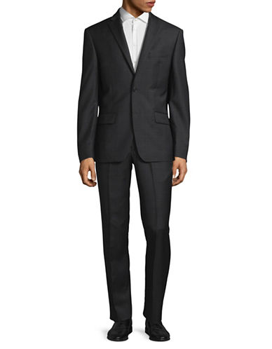 Dkny Plaid Wool Suit-GREY-44 Regular