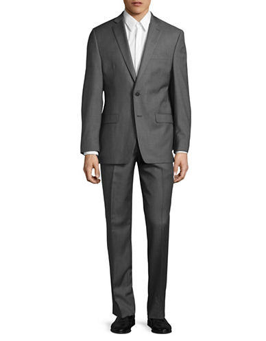 Calvin Klein Regular Fit Tonal Wool Suit-GREY-48 Regular