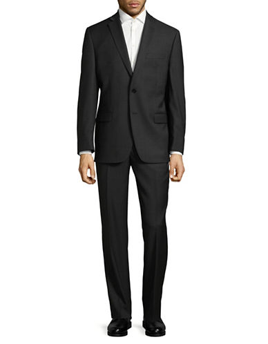 Calvin Klein Regular Fit Tonal Wool Suit-BLACK-46 Tall