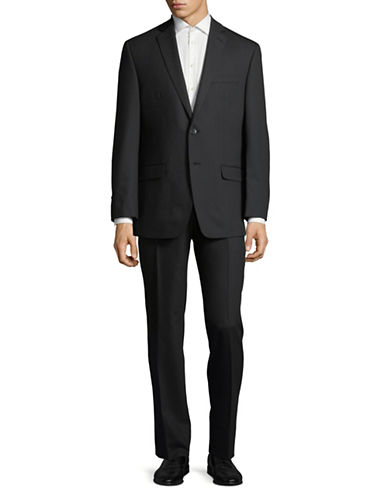 Calvin Klein Regular Fit Tonal Wool Suit-BLACK-42 Short