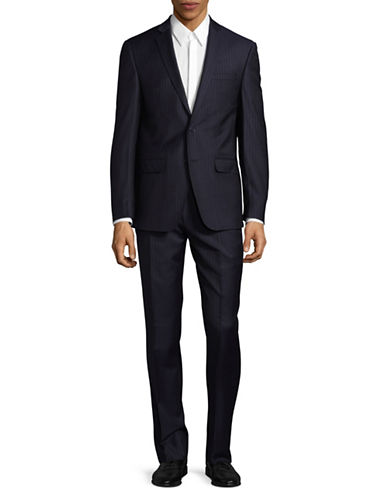 Calvin Klein X-Fit Slim Stripe Wool Slim Suit-BLUE-40 Tall