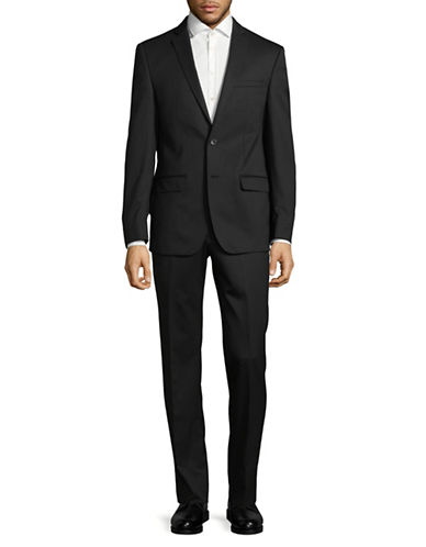 Calvin Klein X-Fit Slim Wool Suit-BLACK-42 Tall
