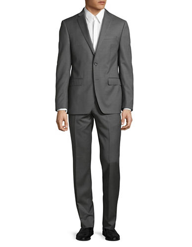 Calvin Klein X-Fit Slim Wool Suit-GREY-42 Short