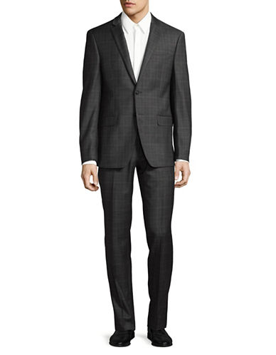 Calvin Klein X-Fit Slim Plaid Wool Suit-COPPER-44 Regular
