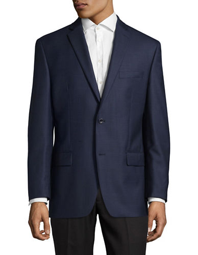 Michael Michael Kors Checkered Wool Sports Jacket-BLUE-40 Short