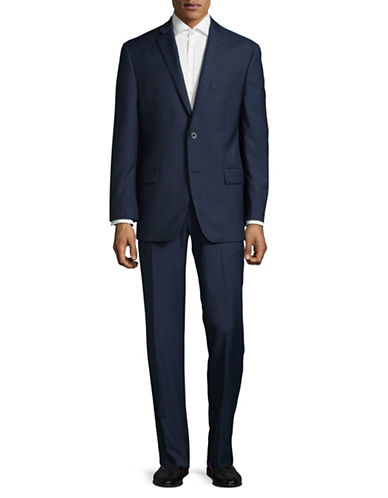 Michael Michael Kors Crosshatch Two-Button Wool Suit-BLUE-40 Short