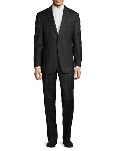 Lauren Ralph Lauren Windowpane Wool Suit-GREY-44 Regular