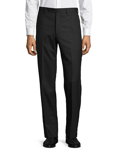 Lauren Ralph Lauren Wool Straight-Leg Dress Pants-CHARCOAL-40X32