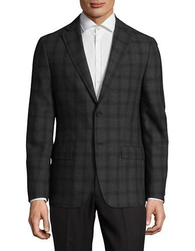 Dkny Notch Lapel Two-Button Wool Sportcoat-GREY-44 Short