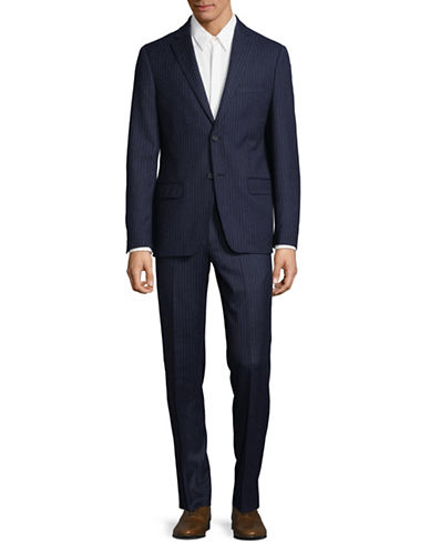 Dkny Pinstripe Wool Suit-BLUE-38 Short