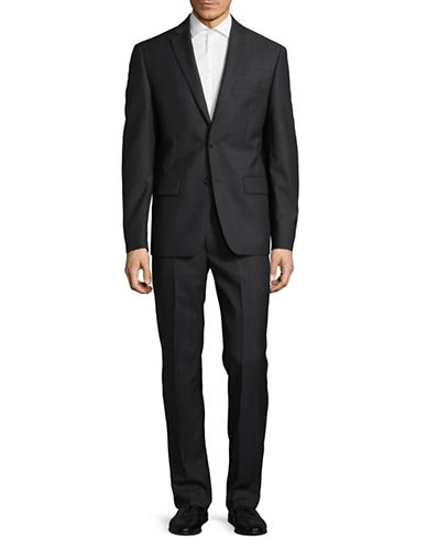 Dkny Natural Stretch Tonal Wool Suit-GREY-36 Regular