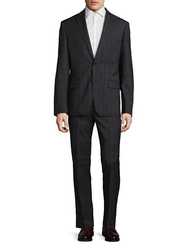 Dkny Plaid Stretch Wool Suit-GREY-42 Short