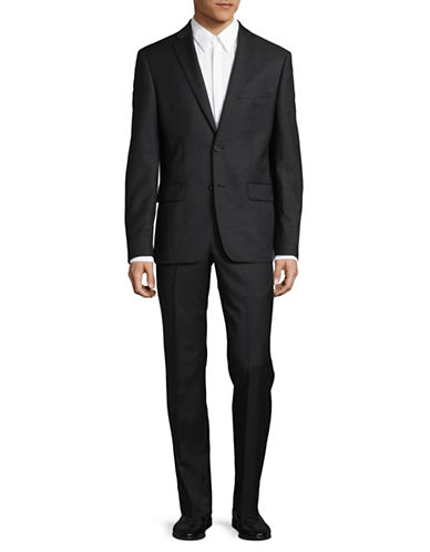 Dkny Natural Stretch Tonal Wool Suit-BLACK-44 Tall