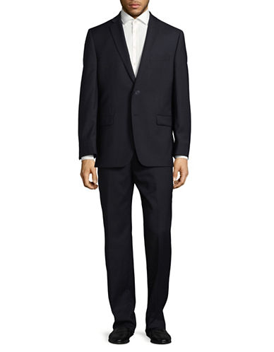 Calvin Klein Regular Fit Tonal Wool Suit-BLUE-42 Short