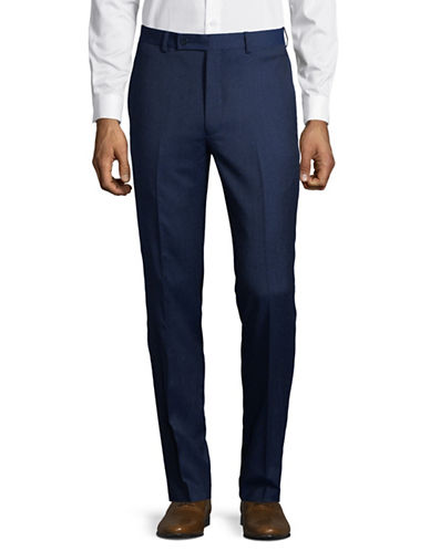 Calvin Klein Hemmed Wool Trousers-BLUE-33X30