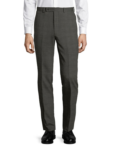 Calvin Klein Hemmed Wool-Blend Trousers-GREY-35X32