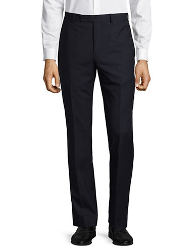 Calvin Klein X-Fit Slim Pinstripe Wool Pant-BLUE-37X34