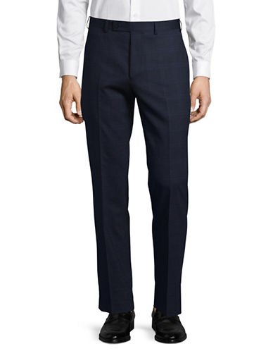Calvin Klein Pintuck Dress Pants-NAVY/WHITE-35X30