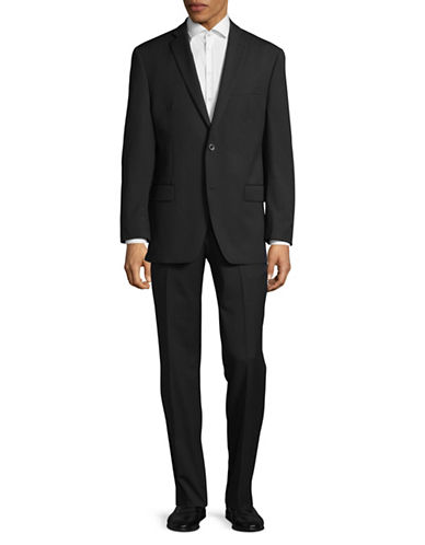 Michael Michael Kors Striped Two-Button Wool Suit-BLACK-40 Regular