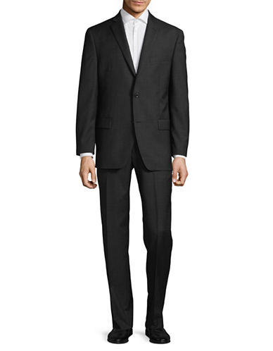 Michael Michael Kors Crosshatch Two-Button Wool Suit-CHARCOAL-44 Regular