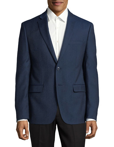 Calvin Klein Notch Lapel Wool Suit Jacket-BLUE-38 Regular