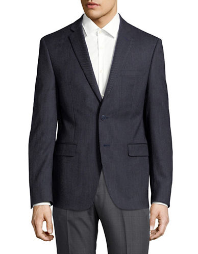 Calvin Klein Striped Notch Lapel Suit Jacket-BLUE-38 Short