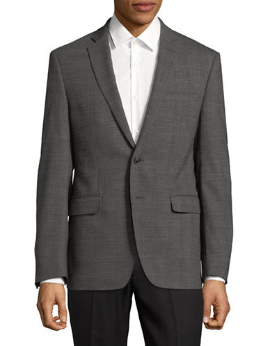 Calvin Klein Notch Wool-Blend Suit Jacket-GREY-40 Short