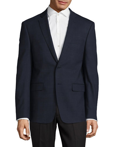 Calvin Klein X-Fit Slim Grid Check Stretch Wool Suit Jacket-NAVY/WHITE-38 Short