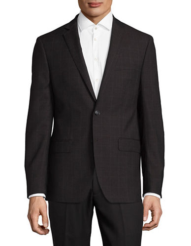 Calvin Klein X-Fit Slim Houndstooth Wool Sport Jacket-DARK BROWN-40 Tall