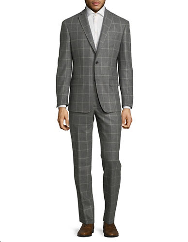 Michael Kors Windowpane Wool Suit-GREY-38 Regular