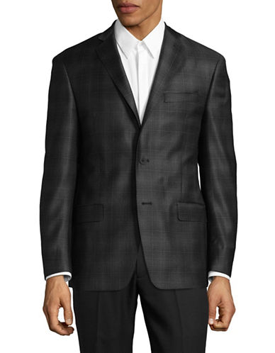 Michael Kors Plaid Wool Sports Jacket-GREY-48 Regular