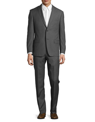 Michael Kors Fine Grid Wool Suit-GREY-38 Short